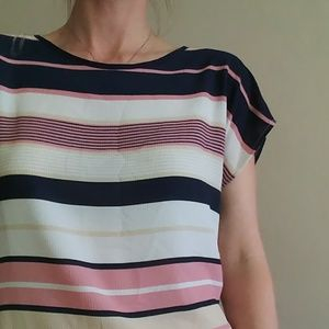 Tops - Navy, pink and cream striped blouse